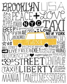 11x14 New York City Taxi Hand Lettering Art Print by groovygravy