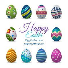 Coleção dos ovos de Easter coloridos