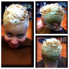 I miss my cuts and style like this but I'm loving being natural Cute Hairstyles For Short Hair, Pretty Hairstyles, Curly Hair Styles, Natural Hair Styles, Permed Hairstyles, Hairstyle Ideas, Wedding Hairstyles, Short Sassy Hair, Short Hair Cuts