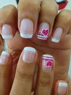 Frances doble Fun Nails, Pretty Nails, Cool Nail Designs, Mani Pedi, Lima, Hair Beauty, Nail Art, Nail Bling, Short Nail Manicure
