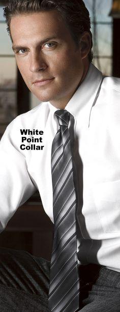 Van Heusen Dress Shirts 13V0350 - Mens Blended Pinpoint Oxford Point Collar Dress Shirts