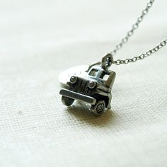 Jeep Car with initial hand stamped charm  by ShortandBaldJewelry, $19.75