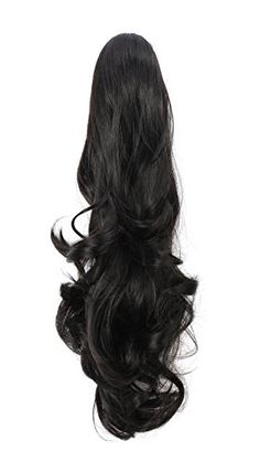 OneDor 20 Curly Synthetic Clip In Claw Drawstring Ponytail Hair Extension Synthetic Hairpiece 190g with a jawclaw clip 1Black ** Want to know more, click on the image.