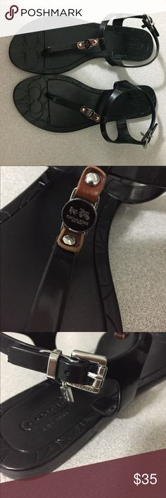 Coach plastic waterproof sandals!! Coach Beautiful black waterproof sandals!!!! I used them like 3 times only! Coach Shoes Sandals