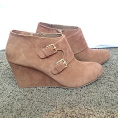 "Anne Klein ""Tylor"" Suede Cognac Booties ""Tylor"", Anne Klein, suede & leather, cognac, booties, gold buckles, gold zipper, NWT, beautiful, stylish & comfortable! Anne Klein Shoes Ankle Boots & Booties"