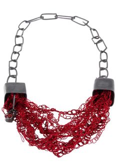 Necklace: Gemstones and Textiles, 2014 Oxidised silver, silk threads and chequered garnet
