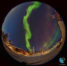 Auroras In Saariselka - Finland with circular fisheye lense