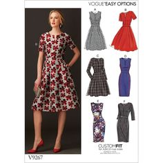 Misses Fit-And-Flare Dresses with Waistband and Pockets Vogue Sewing Pattern 9267.