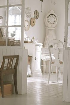 White Swedish style dining room with white Mora clock - found on Hello Lovely Studio White Rooms, Decor, Interior Design, Home, Interior, White Decor, White Interior, Swedish Decor, Home Decor