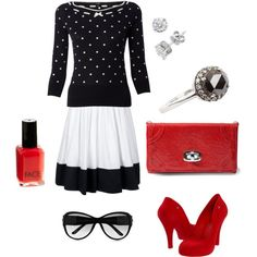red, black, and white polka dot, created by rosemary-woodhouse.polyvore.com