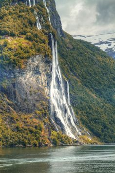 Waterfalls northern Norwegian fjords, Norway