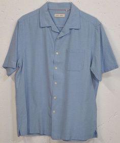 Joseph Abboud Mens Blue 55% Silk 45% Cotton Short Sleeve Button Down Shirt XL #JosephAbboud #ButtonFront