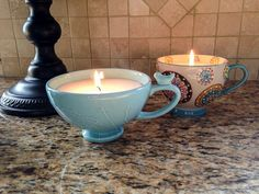 DIY Coffee Cup Candles made with vegan soy wax. Learn how to make these coffee cup candles. #DIY #Candles #CoffeeCups #DIYGifts