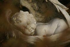 dekoracja ogordowa, ogórd cienia i śpiący anioł Ogrody Tematyczne Hortulus w Dobrzycy