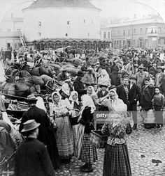 View of a crowded market place, Viborg, Finland, 1897.