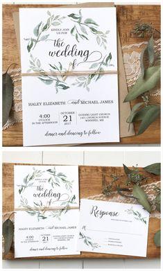 Green wedding invitation, greenery wedding, rustic wedding invitation #weddinginvitation
