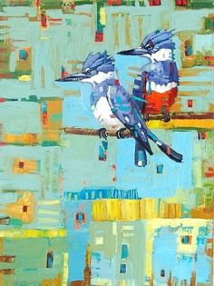 """Kingfisher Pair"""" by Rene' Wiley Gallery Unenhanced Giclée ~ ANY 4x3 Size, Up to 54"""" x 40"""",  Original Size 24""""x18"""""""