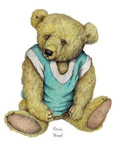 Teddy Bear Kevin Wood Signed Print van KevinWoodArtPrints op Etsy