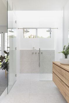 A double-shower can turn a regular bathroom into a couple's retreat. ⁠There's no need to compromise on your temperature and flow desires under our chrome tapware in this @ty.style build.⁠ The uncluttered, minimalistic design fortifies spaciousness and lets the abundance of natural light fill the bathroom with warmth.⁠ Would you ever install a double-shower in your bathroom? ⁠ Bathroom Tapware, Bathroom Renos, Bathroom Renovations, Laundry In Bathroom, Home Remodeling, Bathroom Ideas, Remodel Bathroom, Bathroom Inspo, Bathroom Design Inspiration