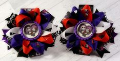 Nightmare Before Christmas Purple and Red Pigtail hair bows