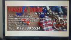 Tailors fashion designers and Seamstress. clothing  repairs leather jacket, tents ,Sewing  done   Tokkie Toffie 521 Pretoria road Silverton next to value motor spares Tokkie Toffie Tailors fashion designers.  Call / whattapp : 079 389 5534 Fashion designers on African wear,Western , eastern ,northern styles we do best ,come view  !!!