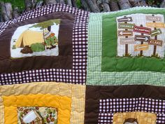 Lovely Quilt and Pillow featuring Riley Blake Gingham and Camp a Lot fabric #rileyblakedesigns #gingham