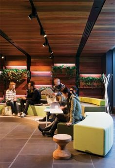 Students like the Giblin Eunson Library so much that many of them treat it as a living room, as well as a place to study. HASSELL created a range of learning options, from single study booths to Australian Interior Design, Interior Design Awards, Commercial Interior Design, University Of Melbourne, Library University, World Library, Library Architecture, Innovation Lab, Corporate Interiors