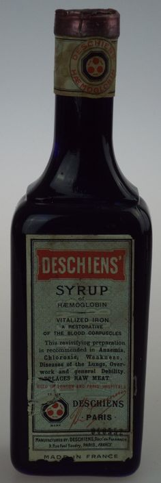 Antique Bottles 248 - September - Chessington Surrey - A full, sealed and labelled French cobalt blue bottle containing 'Deschiens' Syrup', a blood tonic that was apparently prepared from sheeps blood.