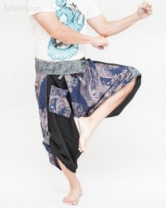 c767faa0692 Size M L Samurai Pants Wrap Around Fold Over Waist (Textured Blue Fish  River Waves)
