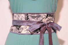 LUXE Cornflower blue and chocolate dupioni silk - cranes and pine Obi belt  - Figure slimmer - Waist cincher