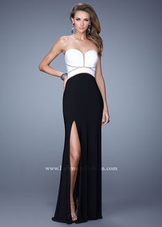 White and Black Sexy Sheer Cut Out Dress - 2015 La Femme Prom Dress  Collection at 3e68f5f3b1a2
