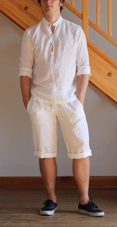 Man white knee length shorts linen beach wedding party special occasion knee length birthday summer holiday by Maliposhaclothes on Etsy
