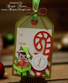 Look at this little Shelf on the Elf guy!  Adorable!  He's from SANTA'S HELPFUL ELVES SVG KIT.  The Candy Cane is from SANTA'S NORTH POLE WORKSHOP.  Love it, Brigit!