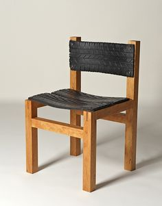 A chair made out of wood and #recycled tyre: http://atelier688.tumblr.com/page/2