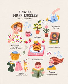 Annelies 아넬리스:「Simple small things that make us happy :) I didn't draw here, but looking at the stars also makes me really happy! Sometimes I forget about…」, inspirational illustrations, things that makes us happy