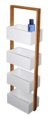 Ablageständer Badezimmer Regal Korbregal mit 4 Ablagekörben Bambus weiß