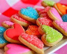Sweetly vivid, festively lovely heart shaped sugar cookies. #food #cookies #Valentines