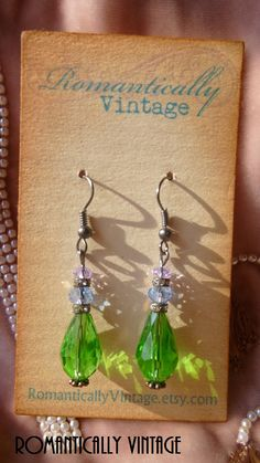 Emerald Green Earrings Beaded Vintage by RomanticallyVintage, $27.50