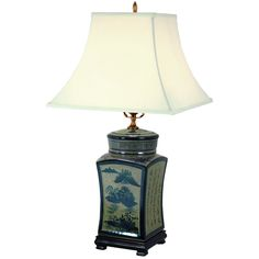 """25"""" Blue & White Chinese Calligraphy Porcelain Lamp from Oriental Furniture"""