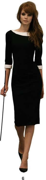 Black Dress with White Detail.  This simple, elegant dress will help you make a statement for your next presentation. A step up from the classic black dress, the white collar and cuffs take this outfit up a notch and make you look professional and authoritative.