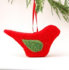 Needle Felted Bird Ornament red green holiday tree by feltjar, $15.00