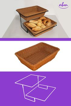 Stojak dwupoziomowy na prostokątne koszyki z polirattanu o wymiarach 40x30x10. Solidny stelaż zapewnia stabilność. Umieszczenie koszy z polirattanu dodaje naturalnego charakteru. To idealny wybór do sklepów sprzedających warzywa, owoce lub do piekarni. Idealny do zaaranżowania miejsca promocji. #bakerycafe #piekarnia #storedesign #design #store #interior #furnituredesigner #wystrojwnetrz #showroom #retrostyle #polishdesign #meble #galleryart #furnituredesign #interiordesign Shop Shelving, Shelves, Showroom, Bakery, Shopping, Food, Store Shelving, Shelving, Bread Store
