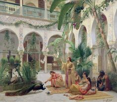 Title Moorish Courtyard Artist(s) Paul-Albert Girard Collection Towneley Hall Art Gallery & Museum Jean Leon, Empire Ottoman, Lawrence Alma Tadema, Dante Gabriel Rossetti, Classical Art, Art Uk, Fine Art, Moorish, North Africa