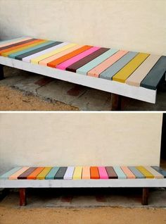 25 DIY Garden Projects Anyone Can Make DIY painted garden bench for the front of the Port house. Love the colors! The post 25 DIY Garden Projects Anyone Can Make appeared first on Pallet Ideas. Diy Garden Projects, Pallet Projects, Pallet Ideas, Woodworking Projects, Teds Woodworking, House Projects, Garden Furniture, Diy Furniture, Furniture Plans