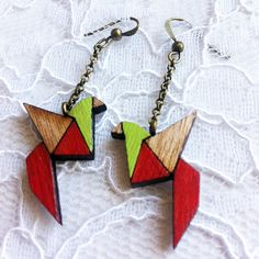 Wooden Earrings - Red & Green Birds origami style
