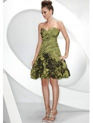 Taffeta A-Line Strapless Sweetheart Neckline Ruched Cocktail Dress