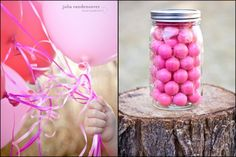 Would be cute to fill mason jar with gumballs & tie matching balloons to it for centerpiece