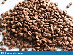Coffee beans on a white background.. Photo about rustic, natural, coffee, retro, cappuccino, roasted, beverage, vector, aroma, cafe, restaurant, background, brown, drink - 141672204