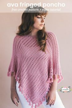 Crochet this simple fringed poncho from just 2 rectangles! Sizes Xs-4XL video tutorial and free crochet pattern on my blog