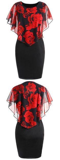 Plus Size Rose Valentine Overlay Capelet Dress Plus Size Dresses, Plus Size Outfits, Short Dresses, Stylish Dresses, Fashion Dresses, Fashion Clothes, Capelet Dress, Look Plus Size, Dress Patterns